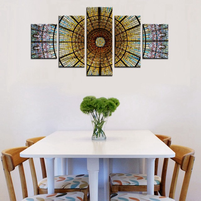Colorful Glass Painting Oil Print on Canvas Jesus Wall Art Modern ...