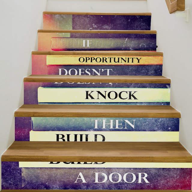 Funlife 18x200cmx6pcs décalcomanies d\'escalier célèbres livres ...