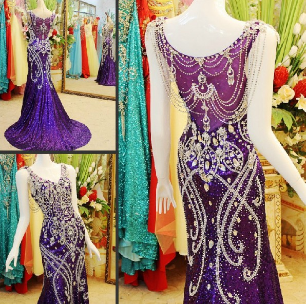 Custom Made Real Photos 2018 Purple Mermaid V-neck Sequins Beading Crystal Luxury Sexy Bride Evening Dresses Prom Party Gown JO3