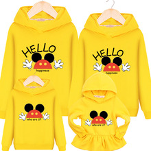 hot deal buy family matching outfits family hooded sweater mother daughter dresses kid spring and autumn coat mikey wave 2017 family clothes