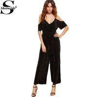 Sheinside Womens One Piece Jumpsuit Sexy One Piece Outfit Woman Black Cold Shoulder Self Tie Pleated