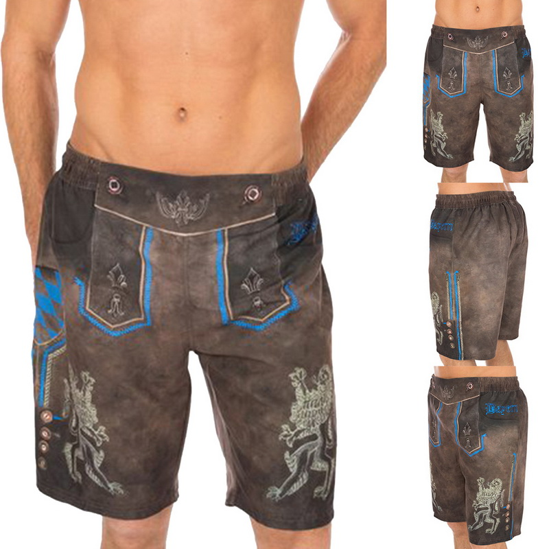 Oeak(Drop Shipping)Summer Men Shorts Oktoberfest Swim Trunks Pockets Shorts Quick Dry Beach Swimwear Drawstring Waist Swimwear