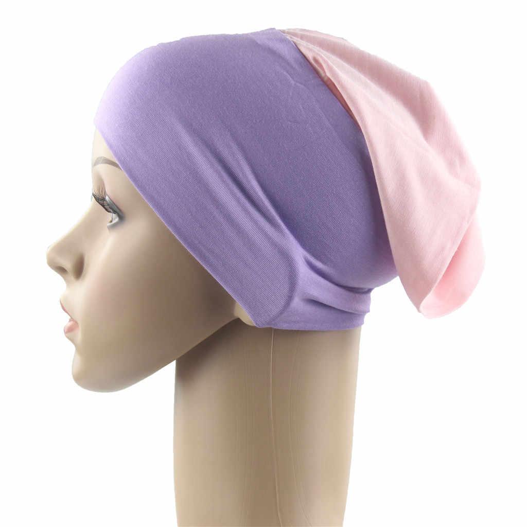 2019 горячая распродажа женский мусульманский Эластичный Тюрбан шляпа потеря головы Кепка chemo головной платок для волос головной убор Многофункциональный gorras mujer