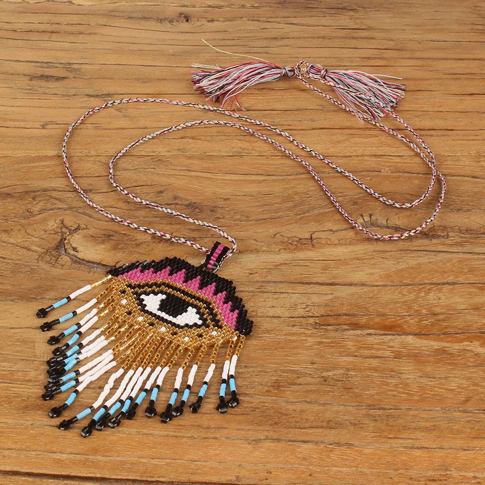 Balibali Bohemia Exquisite Handmade MIYUKI Seed Bead Evil eyes Necklace Pendants Long Statement Woven Necklace For Women bead
