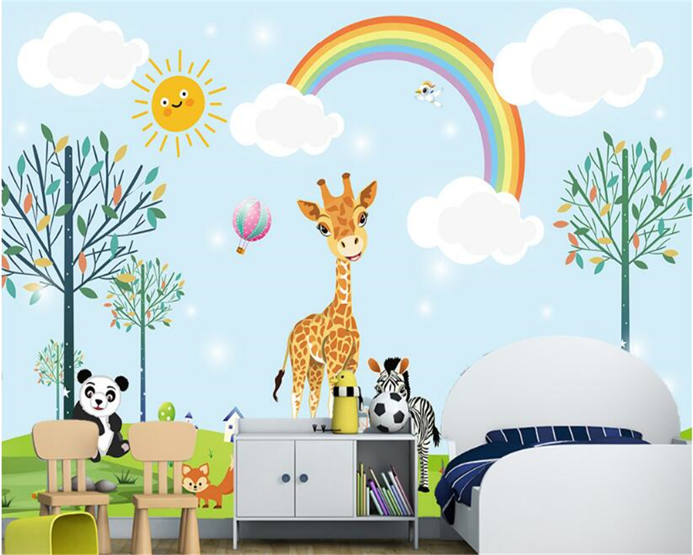 US $8 85 OFF Beibehang Papel De Parede 3d Wallpaper Cute And Fashionable Silk Wallpaper Animal Children Boys And Girls Room Background
