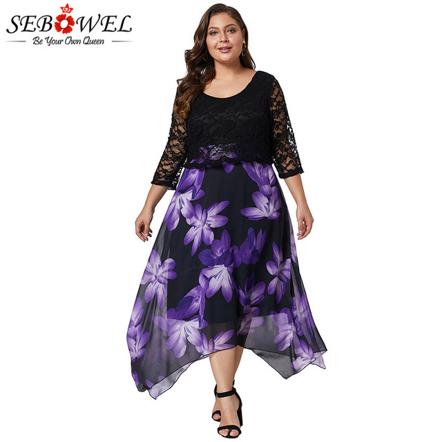 SEBOWEL Woman s Plus Size Floral Print Dress With Lace Overlay New Spring  Autumn 2019 Large Size Female Casual Dresses XL-5XL 3ca3d7b1aaa1