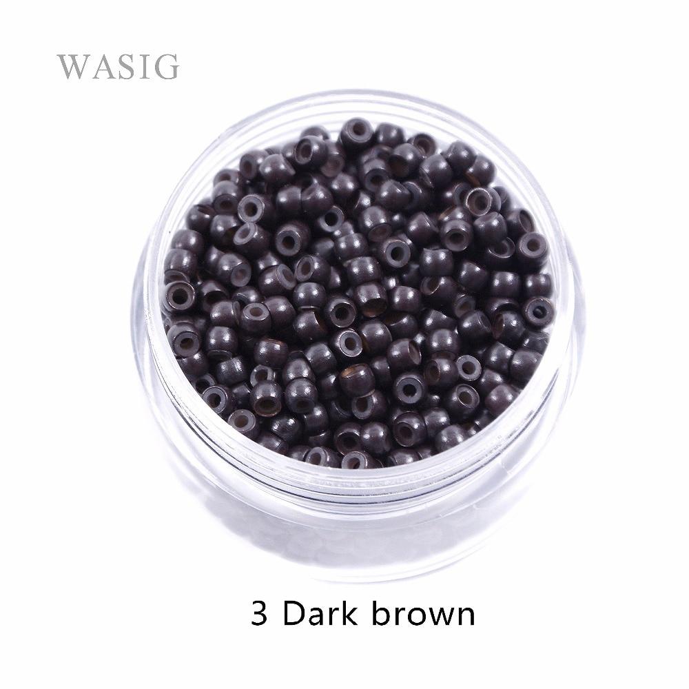 1000pcs 3.0mm silicone nano rings for nano tip hair extensions tools 3# dark brown