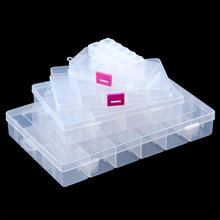 JHNBY Adjustable Slots Transparent Compartment Plastic Jewelry Gift Boxes Storage Case Container for DIY Beads Earrings Rings