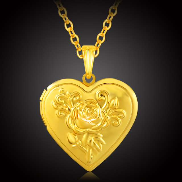Locket Necklace Women Gold Color Jewelry Romantic Heart
