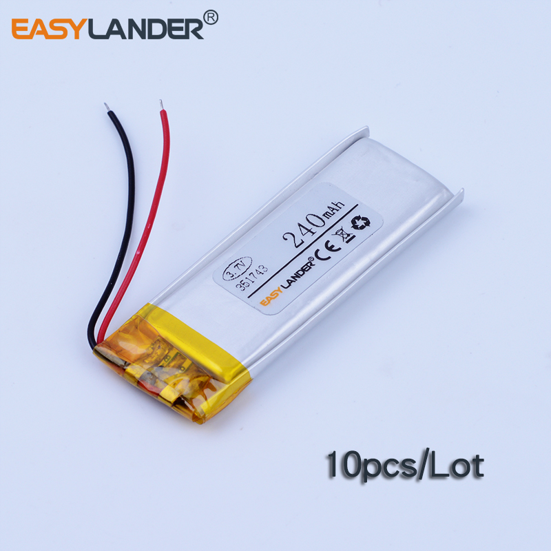 10pcs/Lot 3.7V 240mAh Rechargeable li Polymer Li-ion Battery For pen MP3/MP4/Game Player GPS PSP Lampe speaker toys 351743