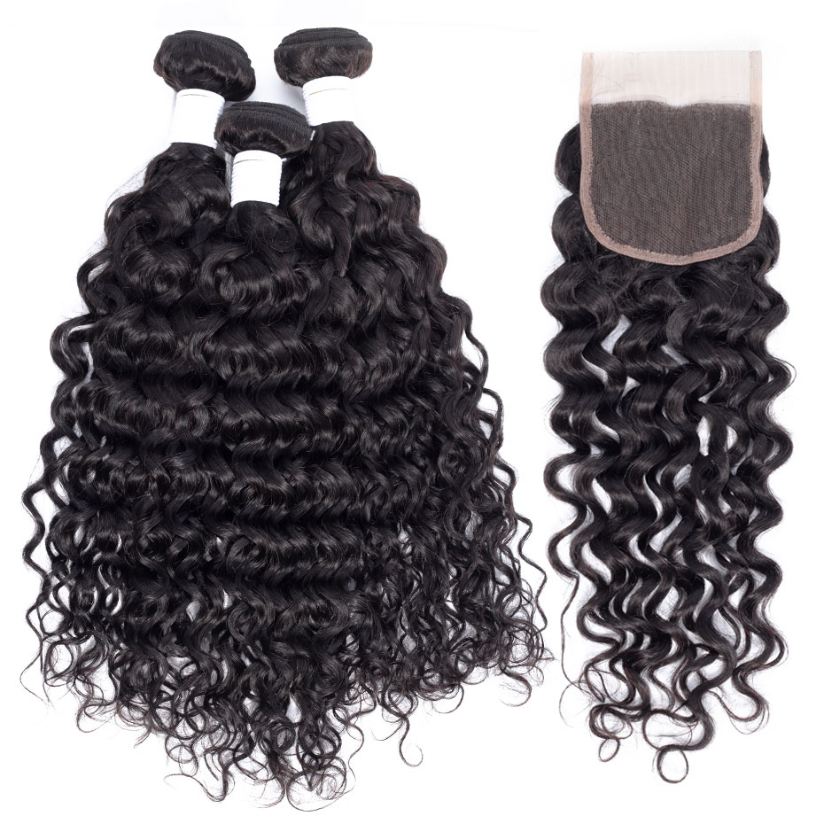Clover Leaf 100% Peruvian Remy Human Hair 3 Bundles With Lace Closure 4X4 Water Wave Hair Extensions 10-28inch Pre-plucked Hair
