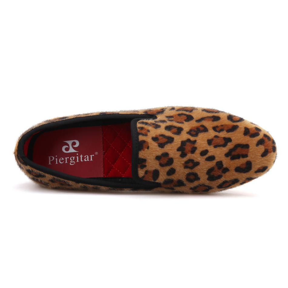 Men Plus Two Casual a fumatori Pantofole mano Leopard velluto Color Scarpe di Size Piergitar Mocassini Fatti assortiti Marrone Print 2019 qXT5ZpZ