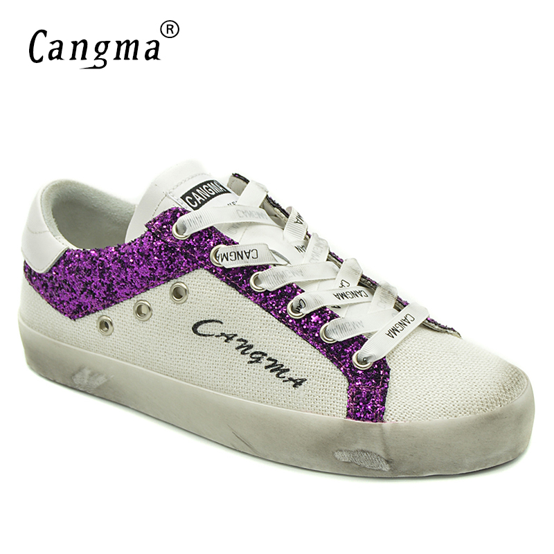 CANGMA Fashion Sneakers Women Shoes British Casual Shoes Canvas Sequined Leather Female Hemp White Shoes Adult Plus Size Lady