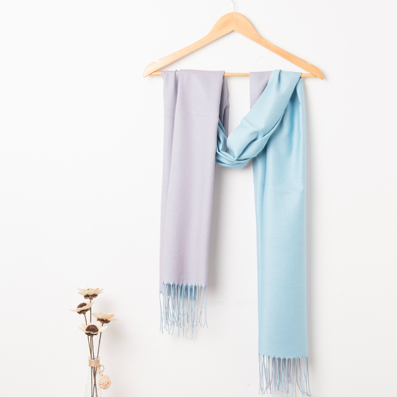 Autumn Winter Women Scarf Fashion Double Sided Two Color Wide Long Shawl Wrap Warm Tippet Cashmere Tassel Scarves