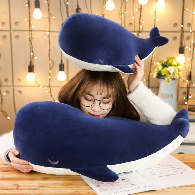 Cuddly Whale Plush Toy Dark Blue Aquatic Animals Stuffed Toy Huggable Ultra Soft Animal Plushie Kids Boys Girls Gift 2
