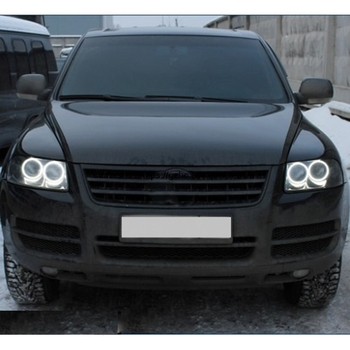 цена на For Volkswagen VW Touareg 2003 2004 2005 2006 Ultra Bright Day Light DRL CCFL Angel Eyes Demon Eyes Kit Warm White Halo Ring