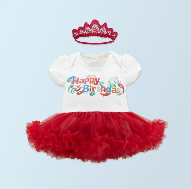 Baby Girls White Red Happy Birthday Tutu Dress 2PCs Per Set Infant First Second Crown Headband