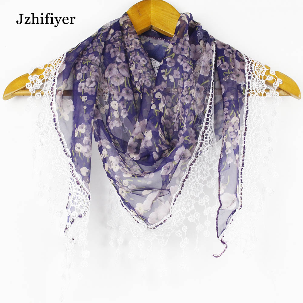chiffion scarfs triangle lace foulard shawl tassel thin women summer pareo beach feminino neck stole wraps color mixed in Women 39 s Scarves from Apparel Accessories