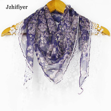 59040 Wholesale 100% Chiffon+Lace Fancy Triangle Women Summer Scarf (drop shipping support)