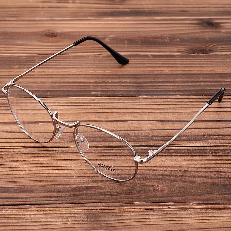 Okvir oken iz kovinskih očal NOSSA za ženske in moška zlata vintage okvirji za očala Študentje Retro prozorna očala Srebrni optični okvir