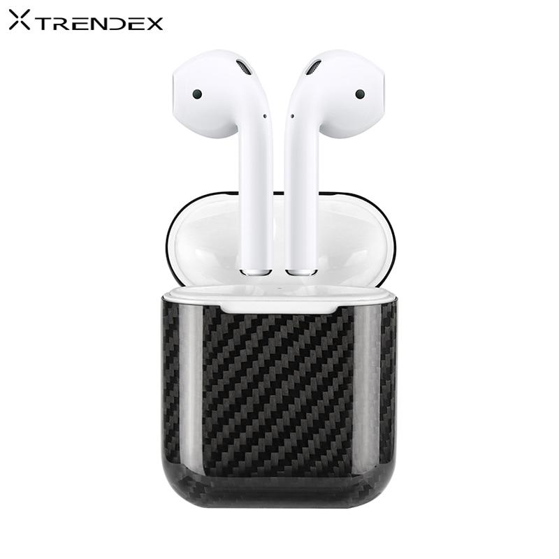 TRENDEX Cas Pour Apple AirPods 100% Réel Véritable Carbone fibre 360 Hybride Mince couvercle de protection Pour Apple AirPods étui pour écouteurs
