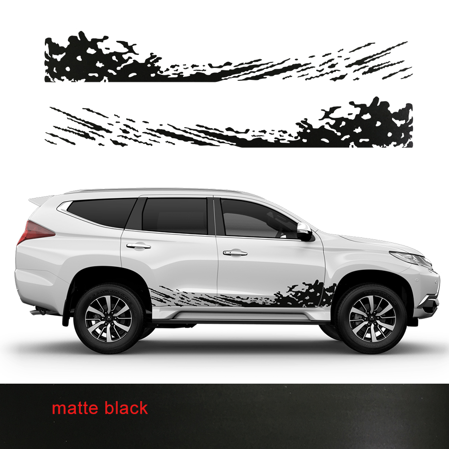 Customize for mitsubishi pajero sport stickers 2pc cool car side body door mud styling graphic vinyl accessories modified decals