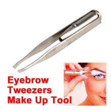 Stainless Steel New Make Up Tool LED Light Eyelash Eyebrow Hair Removal Tweezer