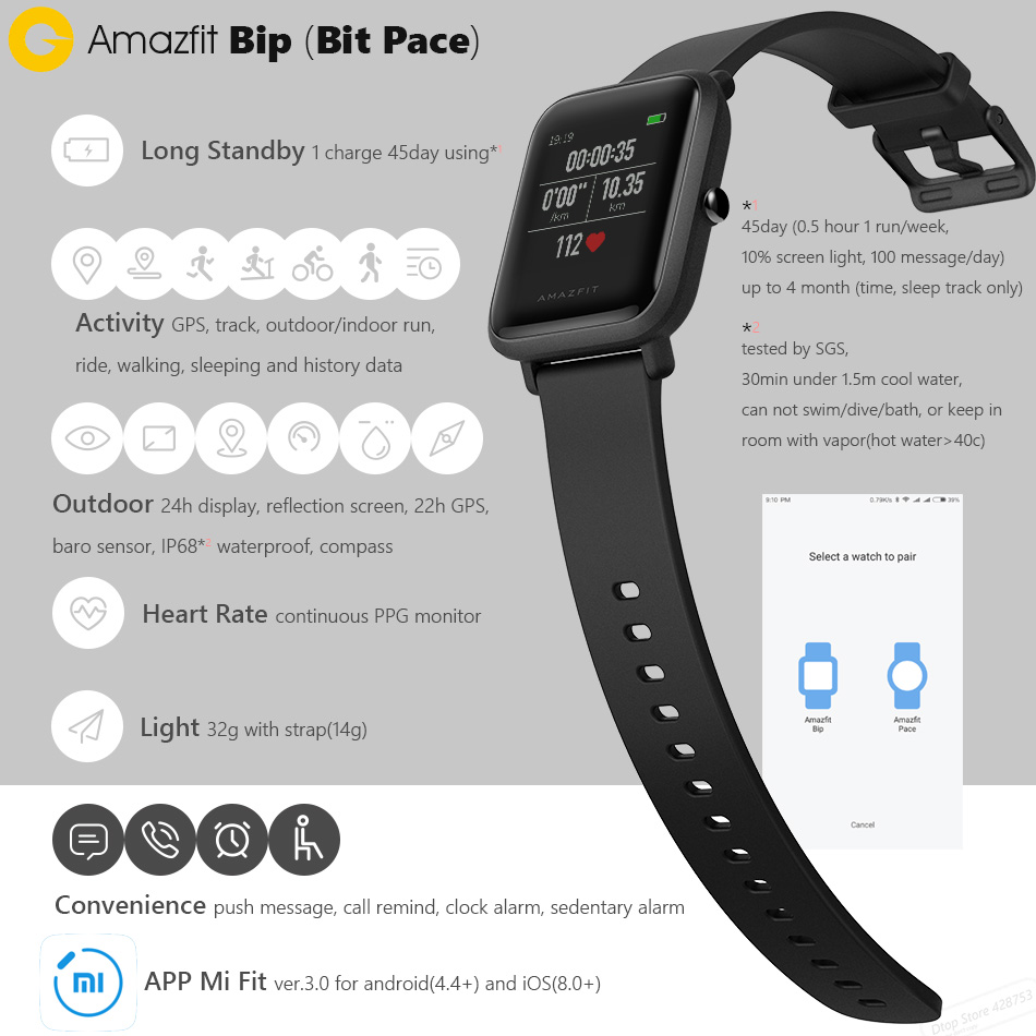 aliexpress com buy original xiaomi huami amazfit bip bit pace lite youth smart watch mi fit reflection color screen 1 28 baro ip68 waterproof gps from