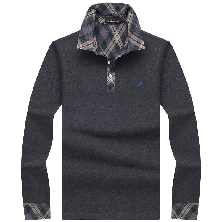 Classic Mens Polo Shirt Striped Long Sleeve Blends Male ...