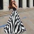 Vestido de Verano 2016 mujeres Venta Caliente Sexy Geométrica Partido Viste Más el Tamaño Largo Maxi Dress Casual Vestidos Ropa de Mujer