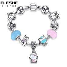 ELESHE Cute Children Cat Kitty Charms Bracelet Bangle for Kids Girl Murano Glass Beads Silver Bracelet For Women Fashion Jewelry