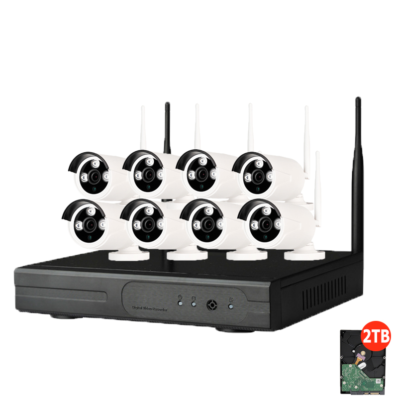 8CH CCTV System Wireless 720P NVR 1 0MP IR font b Outdoor b font P2P Wifi