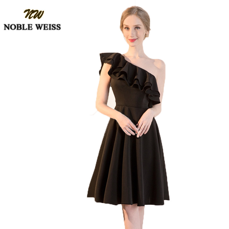 Affordable Wedding Guest Dresses: NOBLE WEISS Black A Line Short Bridesmaid Dresses 2019
