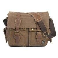 ABDB Men's Vintage Canvas Leather School Military Shoulder Bag Messenger Sling Crossbody Bag Satchel