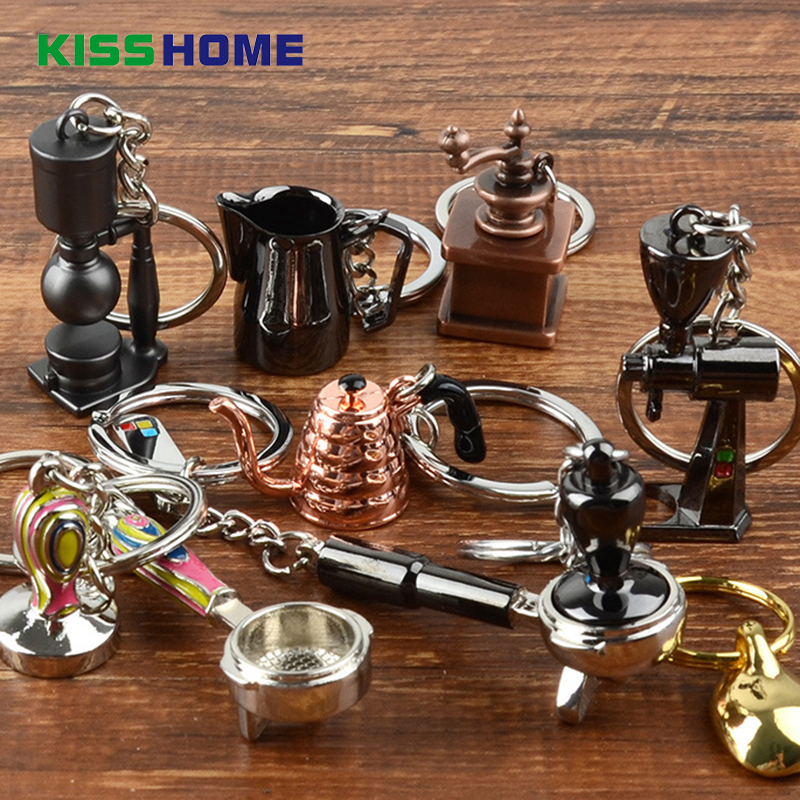 Coffee Key Chain Couple Espresso Accessories  Mini Coffee Tamper Beautiful Coffee Keyring Cafe Gift For Coffee Lovers Keychain
