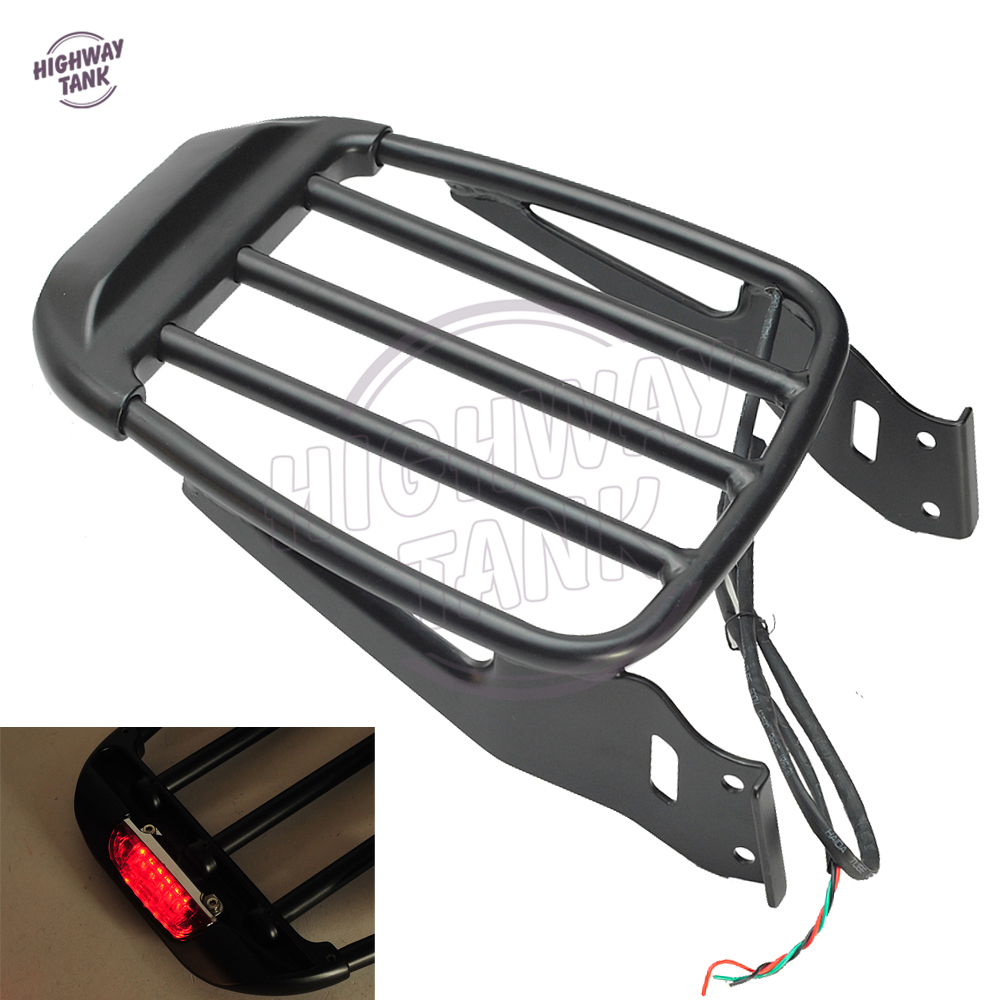 Motorcycle Two-Up Luggage Rack With LED Light case for Harley Sportster XL XL883 883 1200 Dyna Softial 1984-2017 partol black car roof rack cross bars roof luggage carrier cargo boxes bike rack 45kg 100lbs for honda pilot 2013 2014 2015