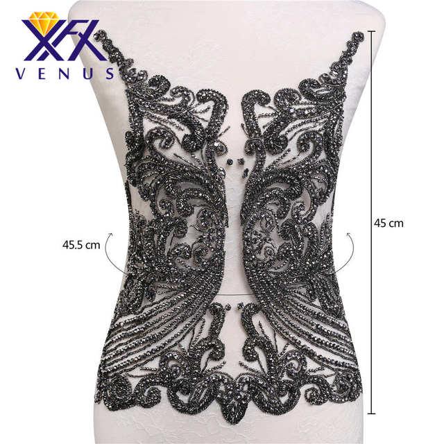 XINFANGXIU Handmade black bead bodice stone crystal rhinestone applique  patches mesh wedding trimming for bridal dress 064496c07980