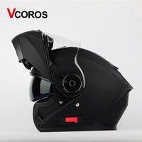 Vcoros Flip Up Motorcycle Helmet Modular Full Face Motorbike Helmet With Inner Double Shiled Visor Racing