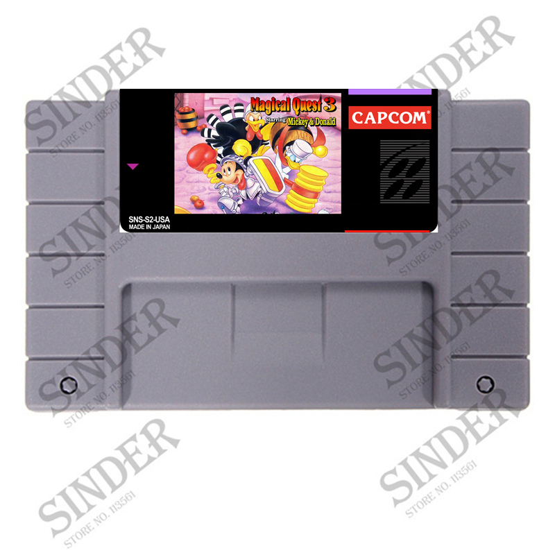 Mickey to Donald - Magical Adventure 3 Good Quality 16 bit Big Gray Game Card For NTSC Game Player