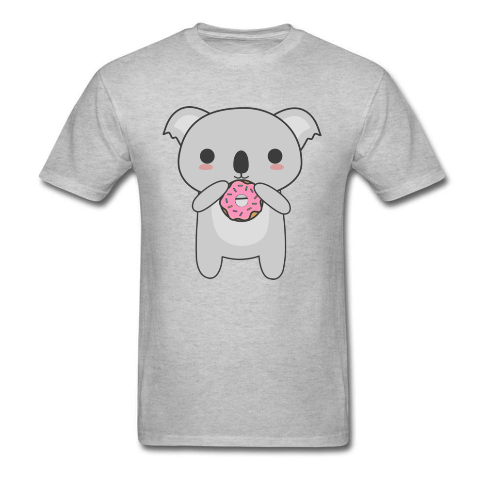 Tops Tees Sweatshirts Kawaii Koala Eating A Donut Summer/Autumn Short Sleeve Cotton Fabric Crew Neck Mens T-Shirt Comics New Kawaii Koala Eating A Donut grey
