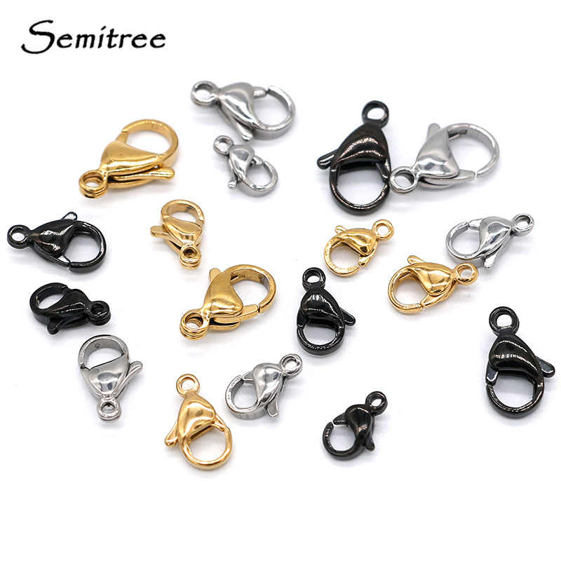 Semitree 25Pcs Stainless Steel Gold Black Lobster Clasps Jewelry Findings DIY Necklace Bracelet Making Accessories 9/10/12/15MM
