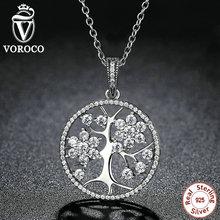 VOROCO Clásico 925 de Plata del Árbol de La Vida Colgante Collares Compatible con VRC Mujeres de Joyería de Moda collares N013