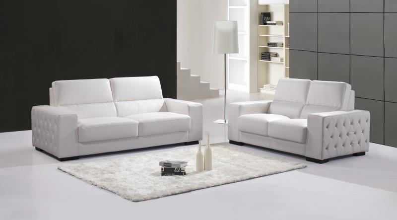Furniture-2 Sofa-Set Living-Room 3-Seater Buttons White-Color With Crystal Genuine