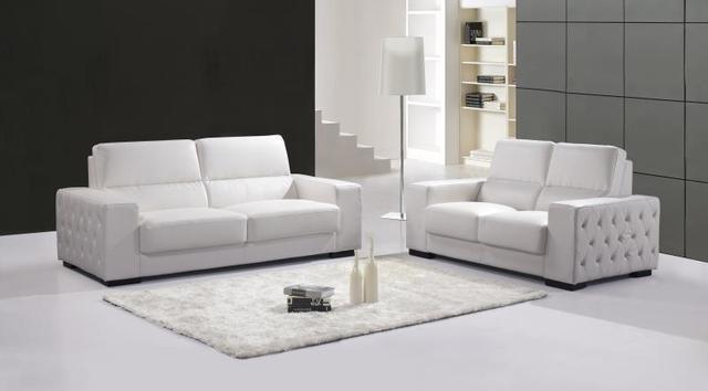 Echte Echtem Leder Sofa Wohnzimmer Sitzgruppe Möbel 2 + 3 Sitzer Weiße  Farbe Mit Leder Tasten