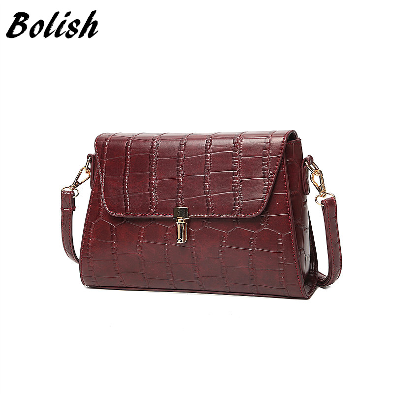 Bolish New Arrival Vintage Alligator PU Leather Women Bag Fashion Lock Women Shoulder Bag Plaid Women Messenger Bag