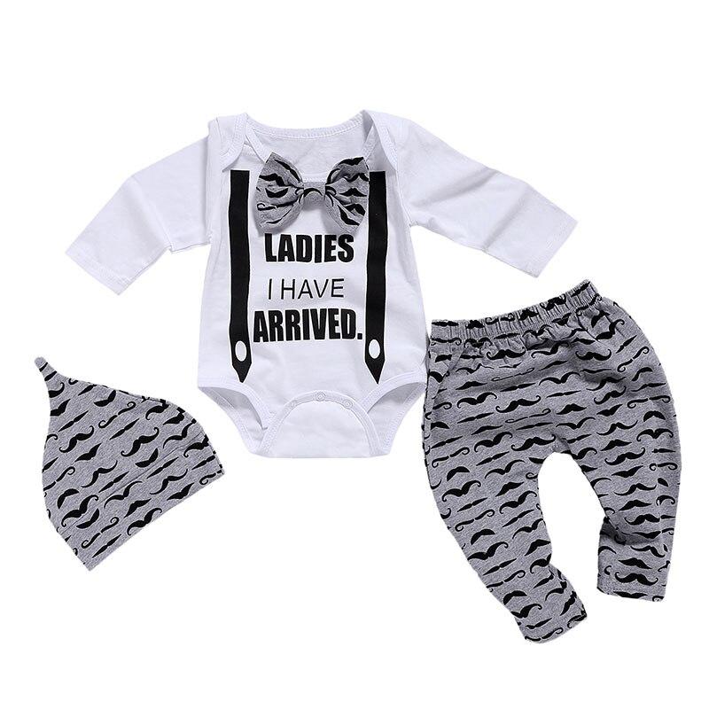 Newborn Clothing Set Baby Boys Clothes Set 3Pcs Bow Tie Infant Clothes 0-18 Months Moustache Print Cute Long Sleeve Baby Set D35