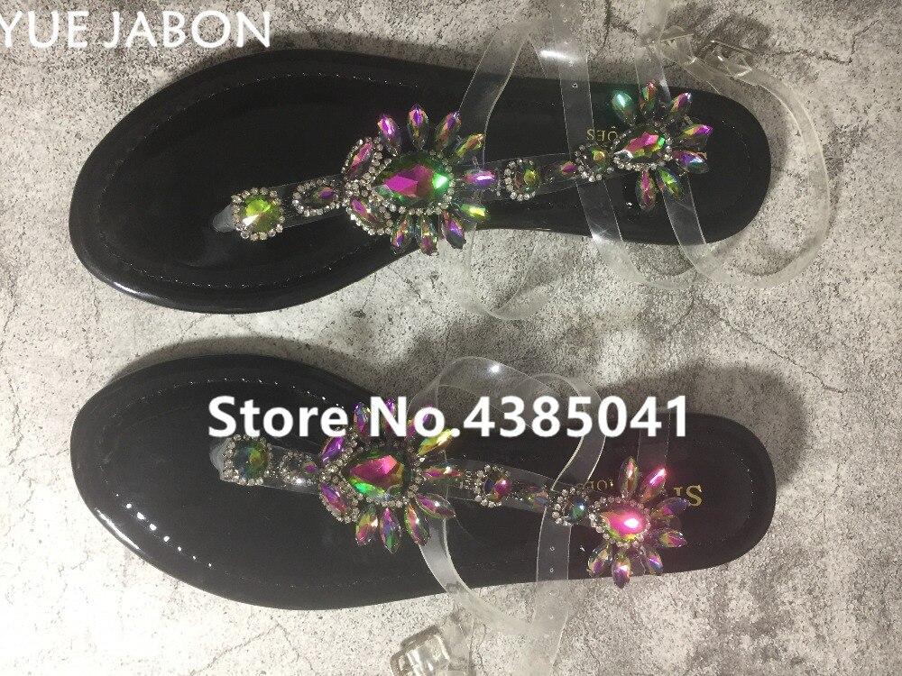 HTB11 fOr5OYBuNjSsD4q6zSkFXaM 2019 shoes woman sandals women Rhinestones Chains Flat Sandals Thong Crystal Flip Flops sandals gladiator sandals 43 free ship