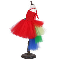 Girl Christmas Carnival Red Macaw Parrot Tutu Dress Kids Scarlett Halloween Cosplay Costume Baby Cake Birthday