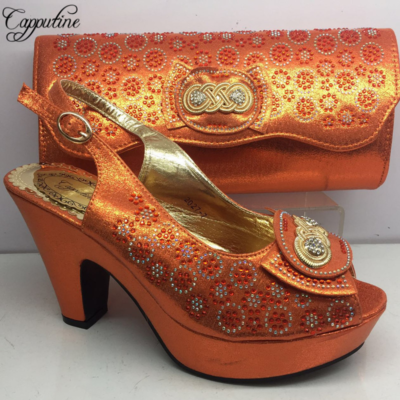 New Arrival Rhinestone Orange Shoes And Bag Set For Party Italian Style High Heel Shoes And Bag Set 5Colors On Stock BL265C