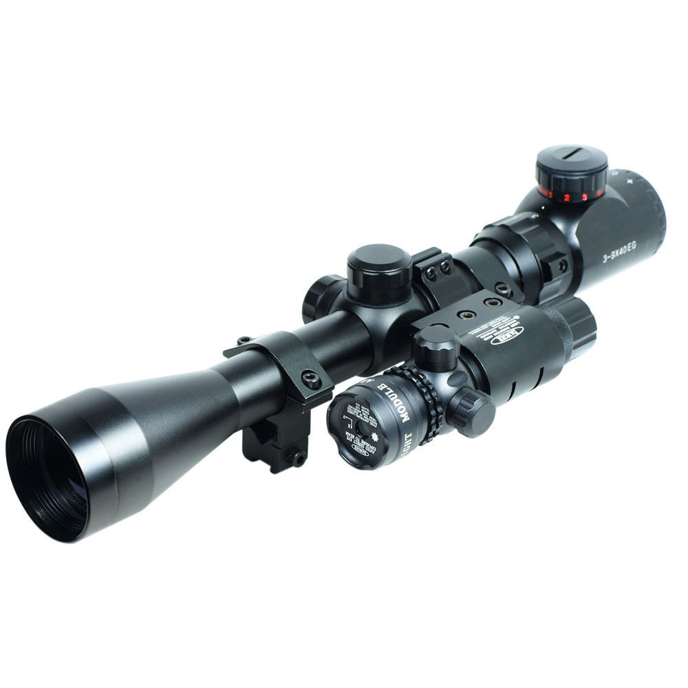 Professional 3-9x40 Mil Dot Red Green Illumination Riflescope Gun Rifle Scope & Detachable Green Laser Sight For Airsoft Hunting 4x 30mm red green mil dot reticle rifle scope with gun mount black 3 x ag13 1 x cr2032
